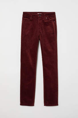 H&M Ankle-length Corduroy Pants - Red