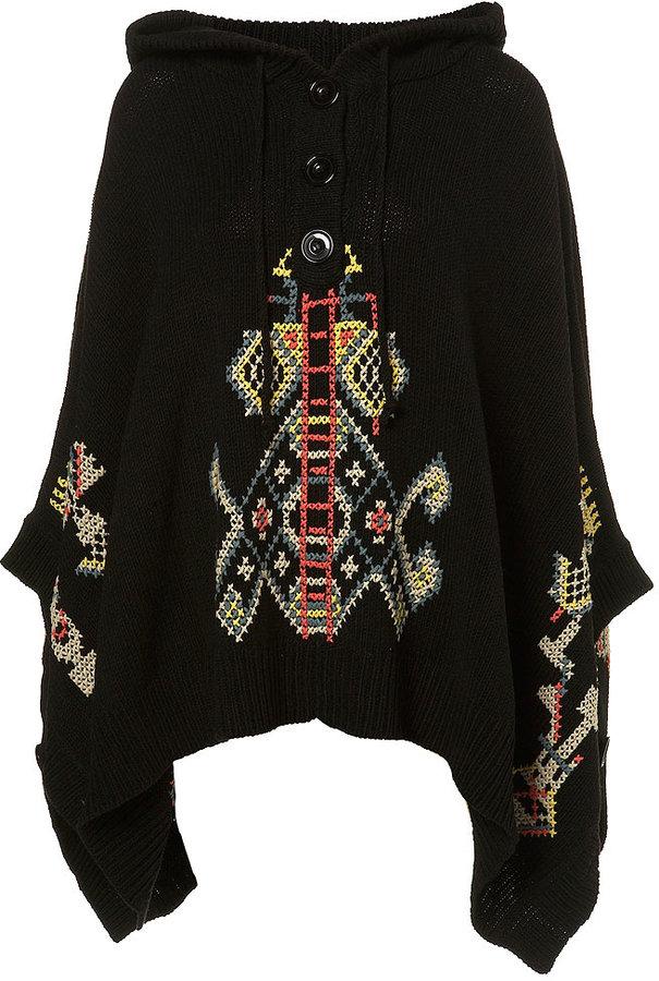 Knitted Cross Stitch Poncho