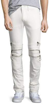 God's Masterful Children Chain Biker Skinny Jeans, White