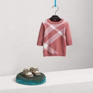 Burberry Check Cotton Cashmere Blend Dress