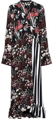 Mother of Pearl Wrap-effect Ruffled Printed Twill Midi Dress