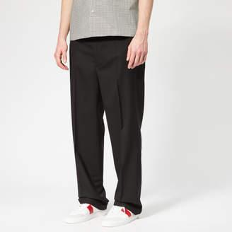Men's Two Ply Wool Popeline Trousers Black