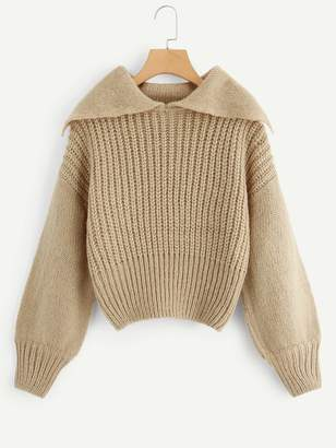 Shein Chunky Knit Jumper With Exaggerated Collar