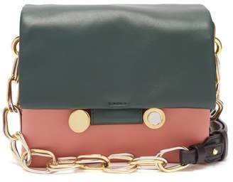 Marni Cady Tri Colour Leather Shoulder Bag - Womens - Green Multi