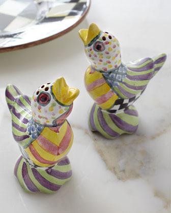 "Mackenzie Childs MacKenzie-Childs ""Piccadilly"" Bird Salt & Pepper Shakers"
