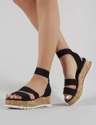 e0e55421b405 Public Desire Cassie Elasticated Strappy Flatform Sandals
