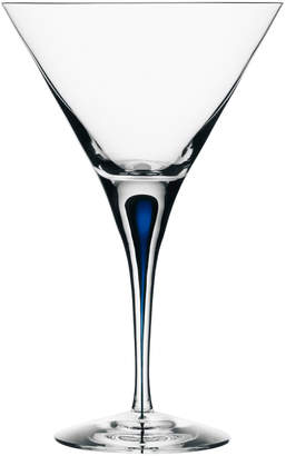 """Orrefors Blue Accented Mouth-Blown Crystal Martini Glass """"Intermezzo"""""""