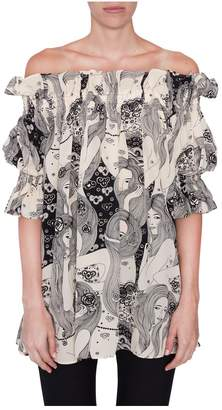 Alexander McQueen Off The Shoulder Printed Tunic