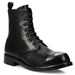 Alexander McQueen Steel Toe Leather Lace-Up Boots