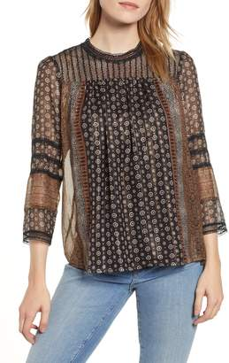 Lucky Brand Metallic Border Print Top