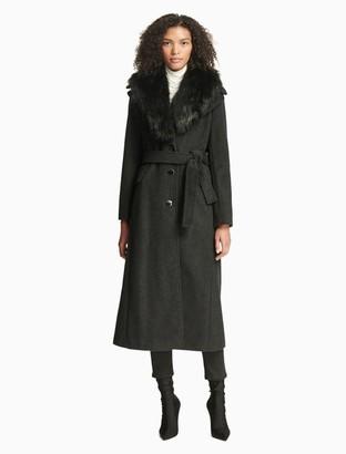 Calvin Klein luxe faux fur belted coat