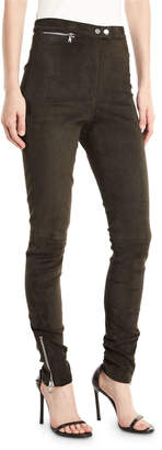 3.1 Phillip Lim High-Waist Stretch-Suede Leggings with Ankle-Zip