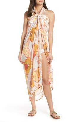 Maaji Mellow Yellow Leaf Pattern Pareo Cover-Up