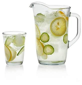 Libbey Cosmos Glass Entertaining Set, 4- 12 ounce Drinking Glasses & 1- 60 ounce Pitcher, Lead-Free, 5-piece