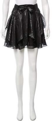 Halston Striped Metallic Ruffled Skirt