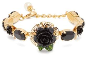 Dolce & Gabbana Rose And Faux Pearl Bracelet - Womens - Black