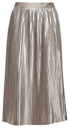 Banana Republic Petite Metallic Pleated Midi Skirt