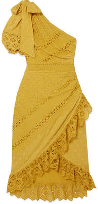 Ulla Johnson Gwyneth One-shoulder Broderie Anglaise Cotton Dress - Chartreuse