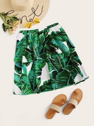 Shein Plus Tropical Print Double Layer Hem Skirt