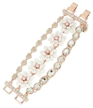 Betsey Johnson Flower Multi-Row Bracelet