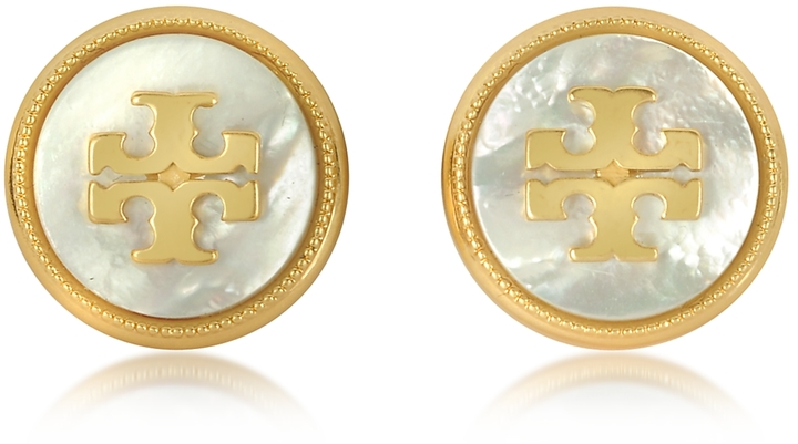 Tory BurchTory Burch Mother of Pearl and Vintage Goldtone Brass Stud Earrings