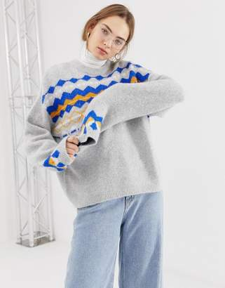 Weekday fluffy sweater with check print in gray