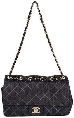 One Kings Lane Vintage Chanel Dark Denim Jumbo Shoulder Bag - Vintage Lux