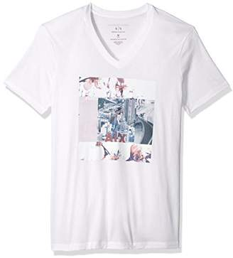 Armani Exchange A|X Men's Flower Block Printed V Neck Tee