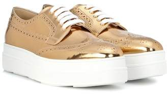 Prada Metallic leather platform sneakers