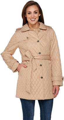 Dennis Basso Lightweight Water Resistant Quilted Trench Coat with Belt