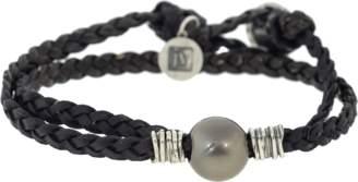 John Varvatos Tahitian Pearl Leather Wrap Bracelet