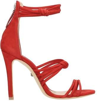 Schutz Red Nabuk Leather Sandals