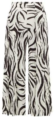 Pleats Please Issey Miyake Aroma Zebra Print Pleated Trousers - Womens - White Black