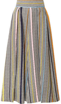 Rosie Assoulin Pleated Houndstooth Tweed Midi Skirt - Gray