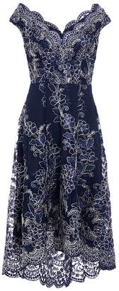 Quiz Navy And Silver Lace Dip Hem Dress