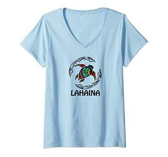 Womens Lahaina Tribal Turtle Hawaiian Design Souvenir Gift V-Neck T-Shirt