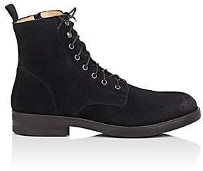 Barneys New York MEN'S SIDE-ZIP WAXED SUEDE BOOTS - BLACK SIZE 10.5 M