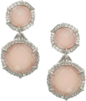 Judith Ripka Sterling Pink Opal/Rose Quartz & DMQ Earrings