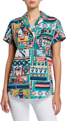 Lafayette 148 New York Huxley Palazzo Patchwork Printed Short-Sleeve Cotton Blouse