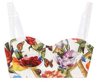Dolce & Gabbana Printed cotton bustier