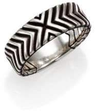 John Hardy Bedeg Sterling Silver Triangle Pattern Band Ring
