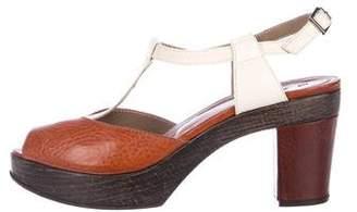 Marni Leather T-strap Platform Sandals