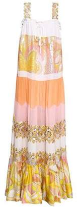 Emilio Pucci Sequin-embellished Paneled Printed Silk Maxi Dress