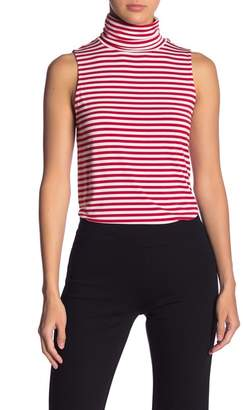 Kensie Striped Sleeveless Turtleneck Top