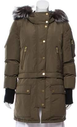 Veronica Beard East End Fur-Trimmed Coat w/ Tags