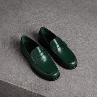 Burberry Leather Penny Loafers , Size: 42, Green