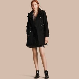 Burberry Short Double Wool Twill Trench Coat $1,095 thestylecure.com