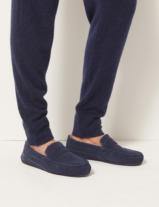 Marks and Spencer Big & Tall Suede Slippers with Freshfeet