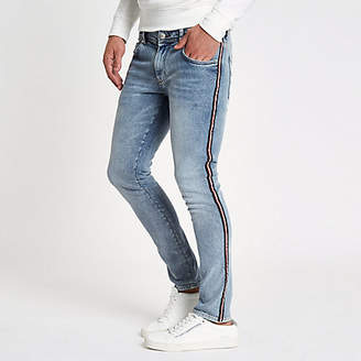River Island Blue stone wash skinny tape jeans