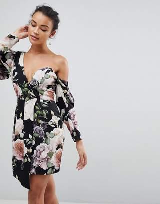 Asos DESIGN Cocktail Mini Dress in Dark Floral Print
